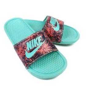 Nike Tropical Print Slide Sandals  Pink Aqua Sz 8